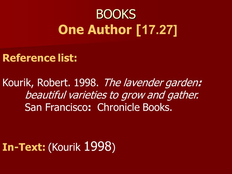 BOOKS One Author [17.27] Reference list:
